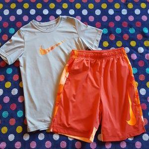 Boys size Medium Nike shorts and tshirt set